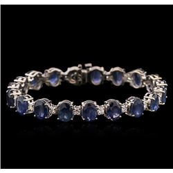 29.83 ctw Blue Sapphire and Diamond Bracelet - 14KT White Gold