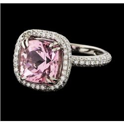 3.46 ctw Morganite and Diamond Ring - 18KT White Gold