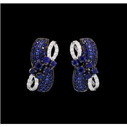 1.10 ctw Sapphire and Diamond Earrings - 14KT White Gold