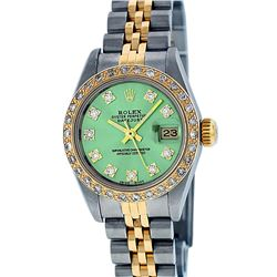 Rolex Ladies Two Tone Green VS Diamond Datejust Wristwatch