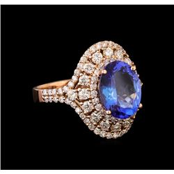 3.21 ctw Tanzanite and Diamond Ring - 14KT Rose Gold