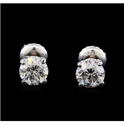 1.31 ctw Diamond Stud Earrings - 14KT White Gold