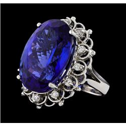 GIA Cert 28.19 ctw Tanzanite and Diamond Ring - 14KT White Gold