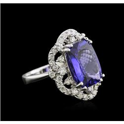 7.47 ctw Tanzanite and Diamond Ring - 14KT White Gold