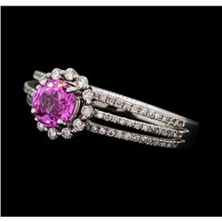 0.90 ctw Pink Sapphire and Diamond Ring - 14KT White Gold
