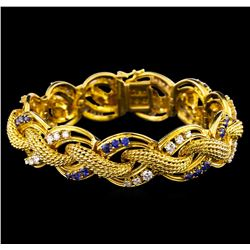2.47 ctw Tanzanite and Diamond Bracelet - 14KT Yellow Gold