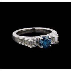 1.74 ctw Blue Diamond Ring - 18KT White Gold