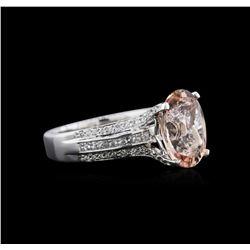 3.13 ctw Morganite and Diamond Ring - 18KT White Gold