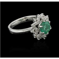 1.30 ctw Emerald and Diamond Ring - 14KT White Gold