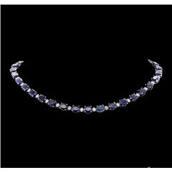 76.76 ctw Sapphire and Diamond Necklace - 14KT White Gold
