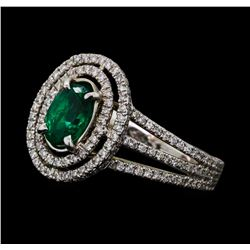 0.79 ctw Emerald and Diamond Ring - 18KT White Gold