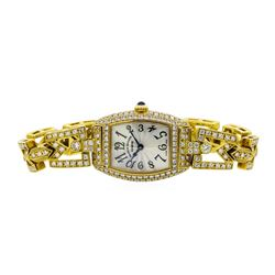 Frank Muller 18KT Gold 4.81 ctw Diamond Cintree Curvex Watch