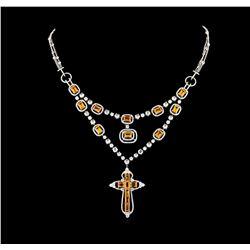 11.41 ctw Orange Sapphire and Diamond Necklace - 18KT White Gold