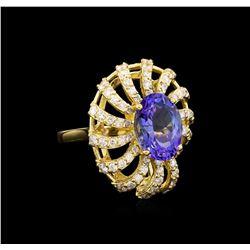 3.76 ctw Tanzanite and Diamond Ring - 14KT Yellow Gold