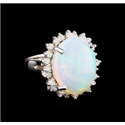 8.18 ctw Opal and Diamond Ring - 14KT White Gold