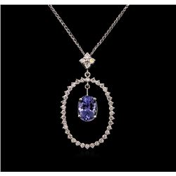 2.69 ctw Tanzanite and Diamond Pendant With Chain - 14KT White Gold