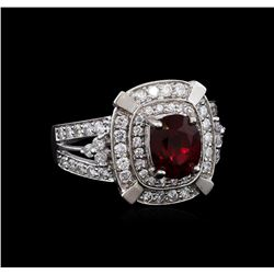 14KT White Gold 2.67 ctw Spinel and Diamond Ring