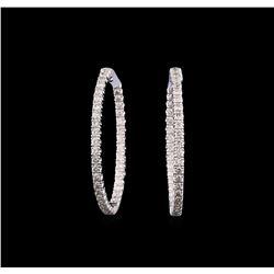 14KT White Gold 2.34 ctw Diamond Hoop Earrings