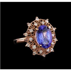 5.20 ctw Tanzanite and Diamond Ring - 14KT Rose Gold