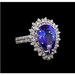 4.04 ctw Tanzanite and Diamond Ring - 14KT White Gold