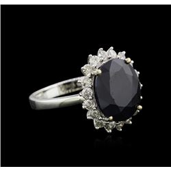 5.28 ctw Sapphire and Diamond Ring - 14KT White Gold
