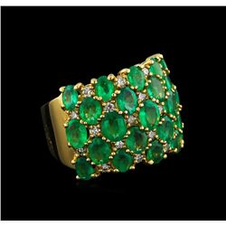 4.48 ctw Emerald and Diamond Ring - 14KT Yellow Gold