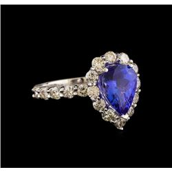 14KT White Gold 2.70 ctw Tanzanite and Diamond Ring