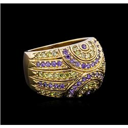 0.48 ctw Amethyst and Peridot Ring - 14KT Yellow Gold
