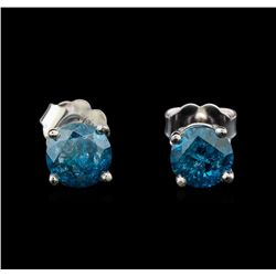 14KT White Gold 1.29 ctw Fancy Blue Diamond Stud Earrings