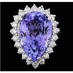 14KT White Gold 11.18 ctw Tanzanite and Diamond Ring