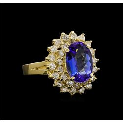 14KT Yellow Gold 2.49 ctw Tanzanite and Diamond Ring