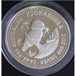 1992 2 ounce Kookaburra in Leather case