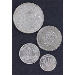 1938 Silver set, 3d , 6d Shilling & Florin Unc