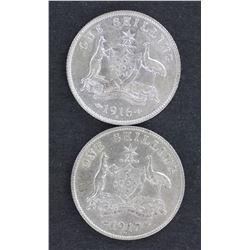 1916 & 1917 Shillings EF