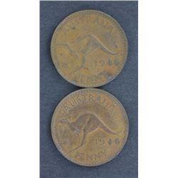 1946 Pennies (2) g VF