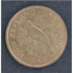 NZ penny 1947 BU