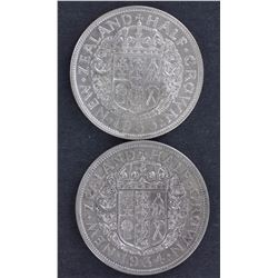 NZ ½ Crowns 1933, 1934,1935, 1940 Centenial EF Plus