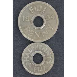 Fiji Penny & ½ Penny 1934 Choice Unc
