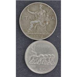 Italy 50c 1919, 1 lire 1922, 2 lire 1914