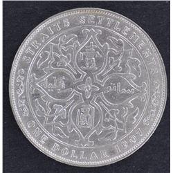 Straits Settlements $ 1 1907 EF