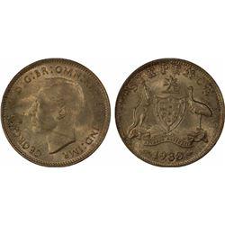 1938 Sixpence MS 65