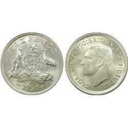 1950 Sixpence MS 64