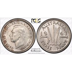 1943 D Threepence MS 65