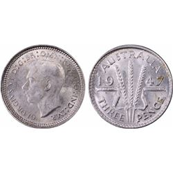 1947 Threepence MS 64