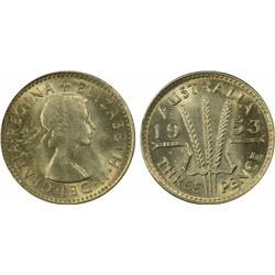 1953 Threepence MS 65