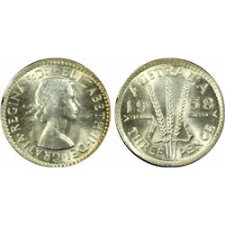 1958 Threepence MS 64