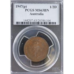 1947 P Half penny MS 63 BN