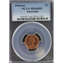 1966 M 1 Cent MS 66 Red