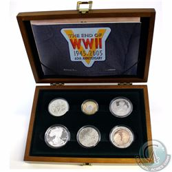 2005 Allied Forces Silver 6-coin Proof Collection commemorating the End of WWII 60th Anniversary. Th