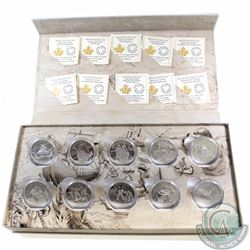 2014-2015 Canada Complete $15 Fine Silver Exploring Canada 10-coin set with Original Mint Display Bo